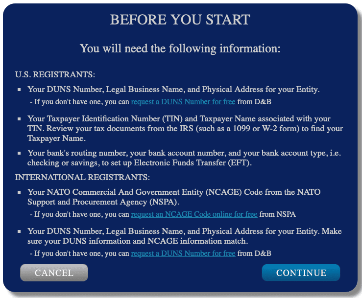 SAM Screenshot showing what you need before you get started registering an entity