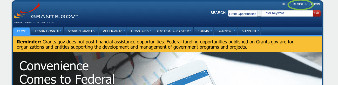 Screenshot of Grants.gov website with link to register in upper righthand corner circled