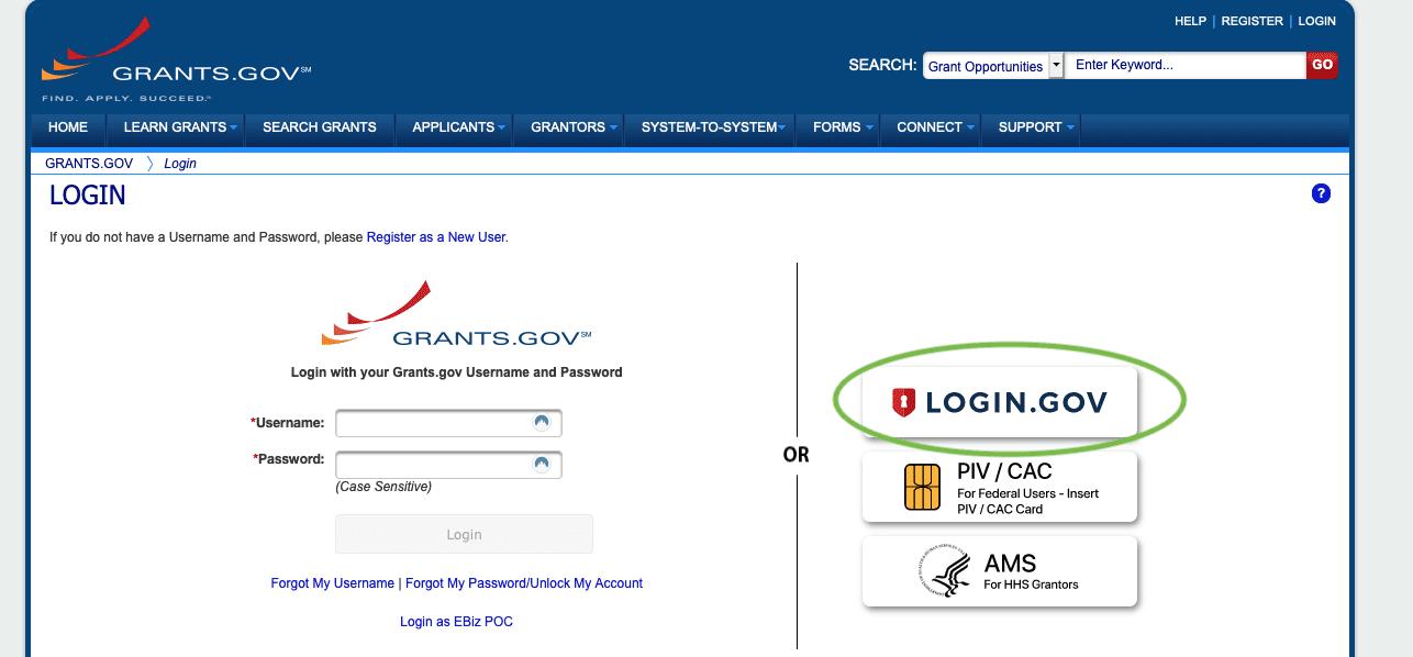 grants dot gov login portal screenshot with login dot gov option circled